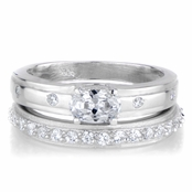 Mary Kay's Unique Oval Cut CZ Wedding Ring Set