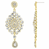 Mary's Fancy Bollywood Gold Rhinestone Earrings