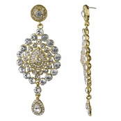 Mary's Red Carpet Goldtone Rhinestone Dangle Earrings
