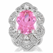 Mary's Pink Art Deco Cocktail Ring