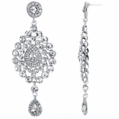 Mary's Red Carpet Silvertone Rhinestone Dangle Earrings