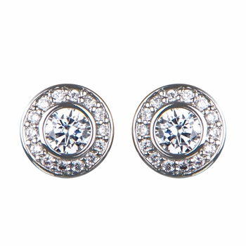 Mavis' Bezel CZ Stud Earrings