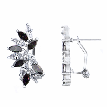 Maxine's Marquise Cut Clear and Purple CZ Cluster Earrings