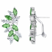 Maxine's Marquise Cut Clear and Green CZ Cluster Earrings