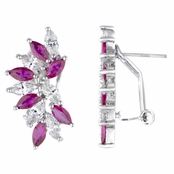 Maxine's Marquise Cut Clear and Red CZ Cluster Earrings