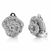Maya's Clip-on CZ Pave Layered Flower Earrings