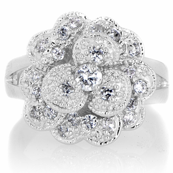 Maya's CZ Pave Layered Flower Cocktail Ring