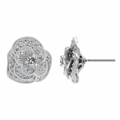 Maya's CZ Pave Layered Flower Earrings
