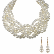 Maya's Twisted Layered Pearl Necklace Set