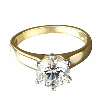 Melanie's Signity CZ Two Tone Engagement Ring - Round