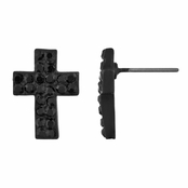 Melina's Petite Cross Rhinestone Stud Earrings - Black