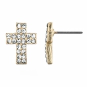 Melina's Petite Cross Rhinestone Stud Earrings - Gold