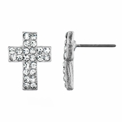 Melina's Petite Cross Rhinestone Stud Earrings - Silver