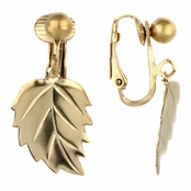 Mellie's Goldtone Dangle Leaf Clip On Earrings