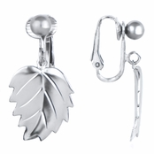 Mellie's Silver Tone Dangle Leaf Clip On Earrings