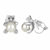 Melody's 8mm Simulated Pearl Teddy Bear Clip On Earrings