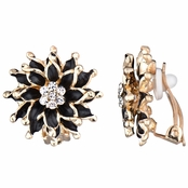 Mia's Gold and Black Flower Clip On Earrings