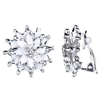Mia's Silvertone and White Flower Clip On Earrings