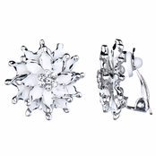 Mia's Silver and White Flower Clip On Earrings
