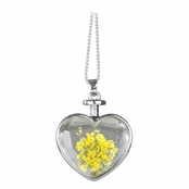 Mila's Silver Dried Flower Glass Heart Locket Necklace - Yellow