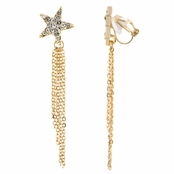 Miley's Goldtone Star Rhinestone Fringe Clip On Earrings