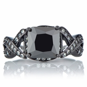 Millicent's Black Engagement Ring - Princess Cut Faux Black Diamond