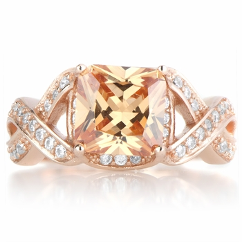 Millicent's Rose Goldtone Champagne CZ Twisted Engagement Ring