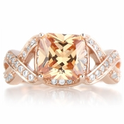 Millicent's Rose Gold Tone Champagne CZ Twisted Engagement Ring
