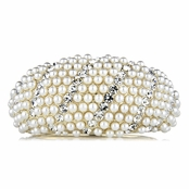 Mini's Fancy Gold Pearl and Rhinestone Bangle Bracelet