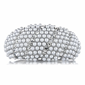 Mini's Fancy Silver Pearl and Rhinestone Bangle Bracelet