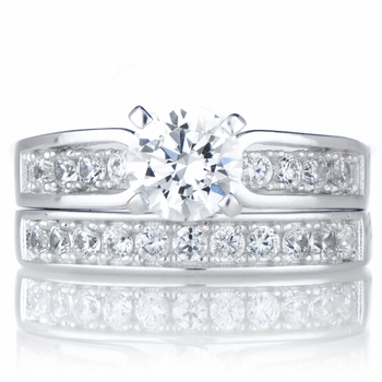 Mirela's 1ct Round Cut Cubic Zirconia Silvertone Wedding Ring Set