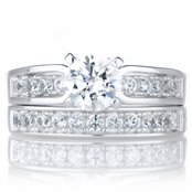 Mirela's 1ct Round Cut Cubic Zirconia Silver Wedding Ring Set