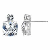 Mirna's 10.6 TCW Cushion Cut CZ Diamond Earrings- Clear