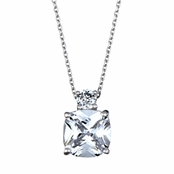 Mirna's 5.3 TCW Cushion Cut CZ Double Stone Necklace