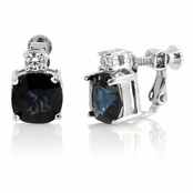Mirna's Clip On Earrings - Cushion Cut CZ - Sapphire Blue