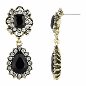Monica's Fancy Goldtone & Black Pear Drop Earrings