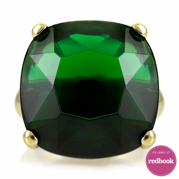 Morgan's Green Cocktail Ring - Goldtone