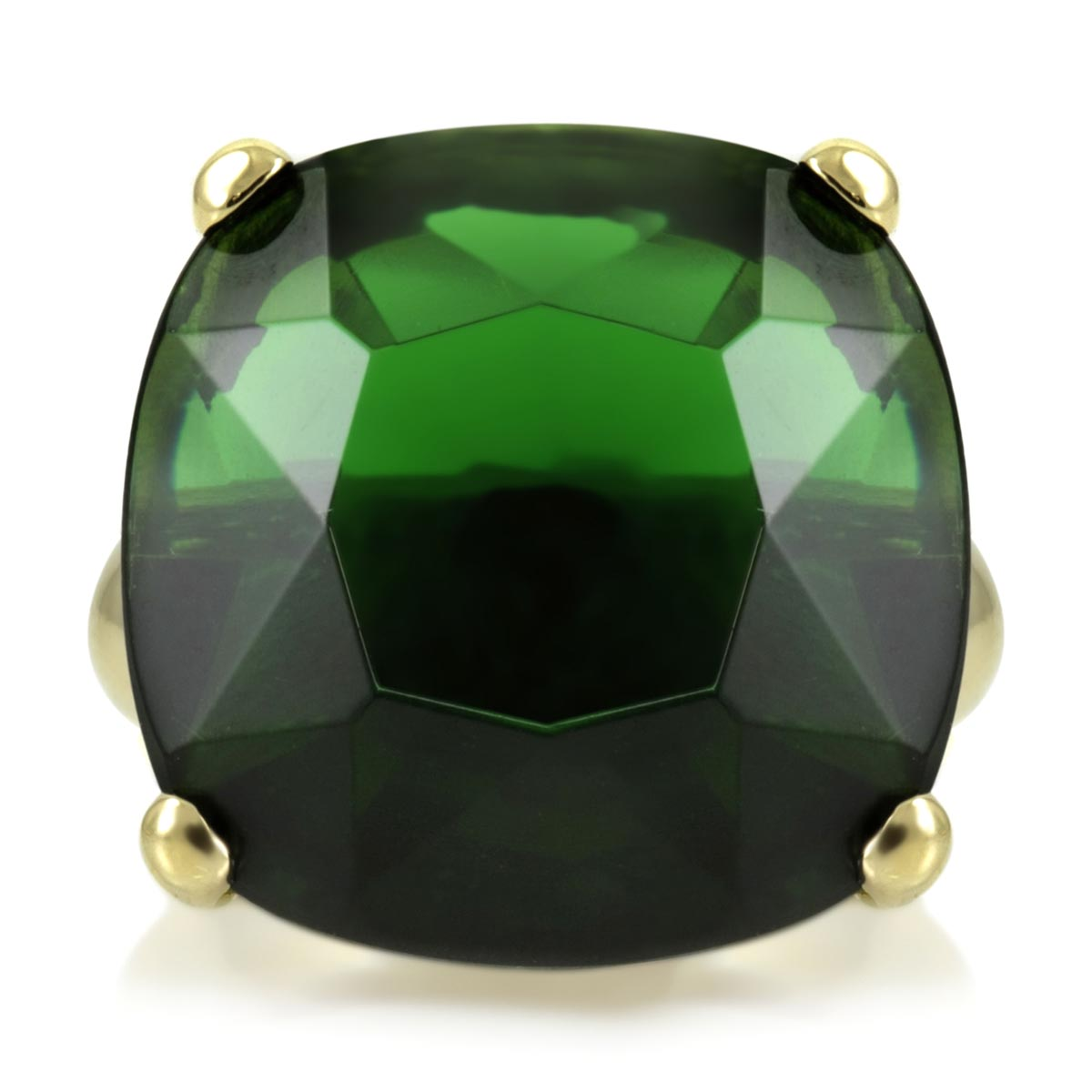 s green cz ring goldtone