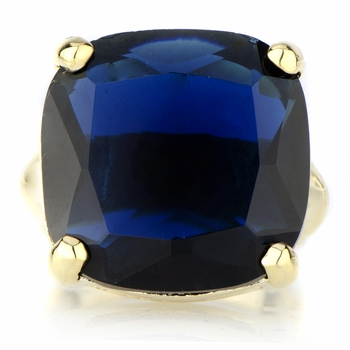 Morgan's Blue CZ Goldtone Cocktail Ring