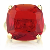 Morgan's Simulated Ruby Gold Tone Cocktail Ring