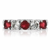 Moxie's Silvertone Stackable Ring - Red CZ