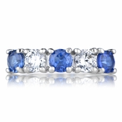 Moxie's Silvertone Stackable Ring - Blue CZ