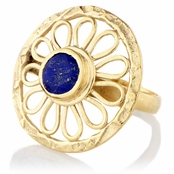 Naira's Blue Stone Goldtone Flower Cocktail Ring