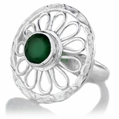 Naira's Simulated Green Onyx Silver Tone Flower Cocktail Ring
