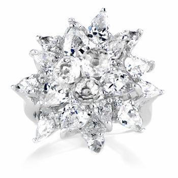 Naples Fancy CZ Flower Ring: Bridal Wedding Jewelry