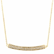 Natalie's Gold Triple Row Curved Pave CZ Necklace