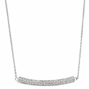 Natalie's Silver Triple Row Curved Pave CZ Necklace