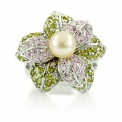 Nell's Flower Ring - Freshwater Cultured Pearl