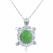 Nella's Green Stone and CZ Turtle Charm Necklace