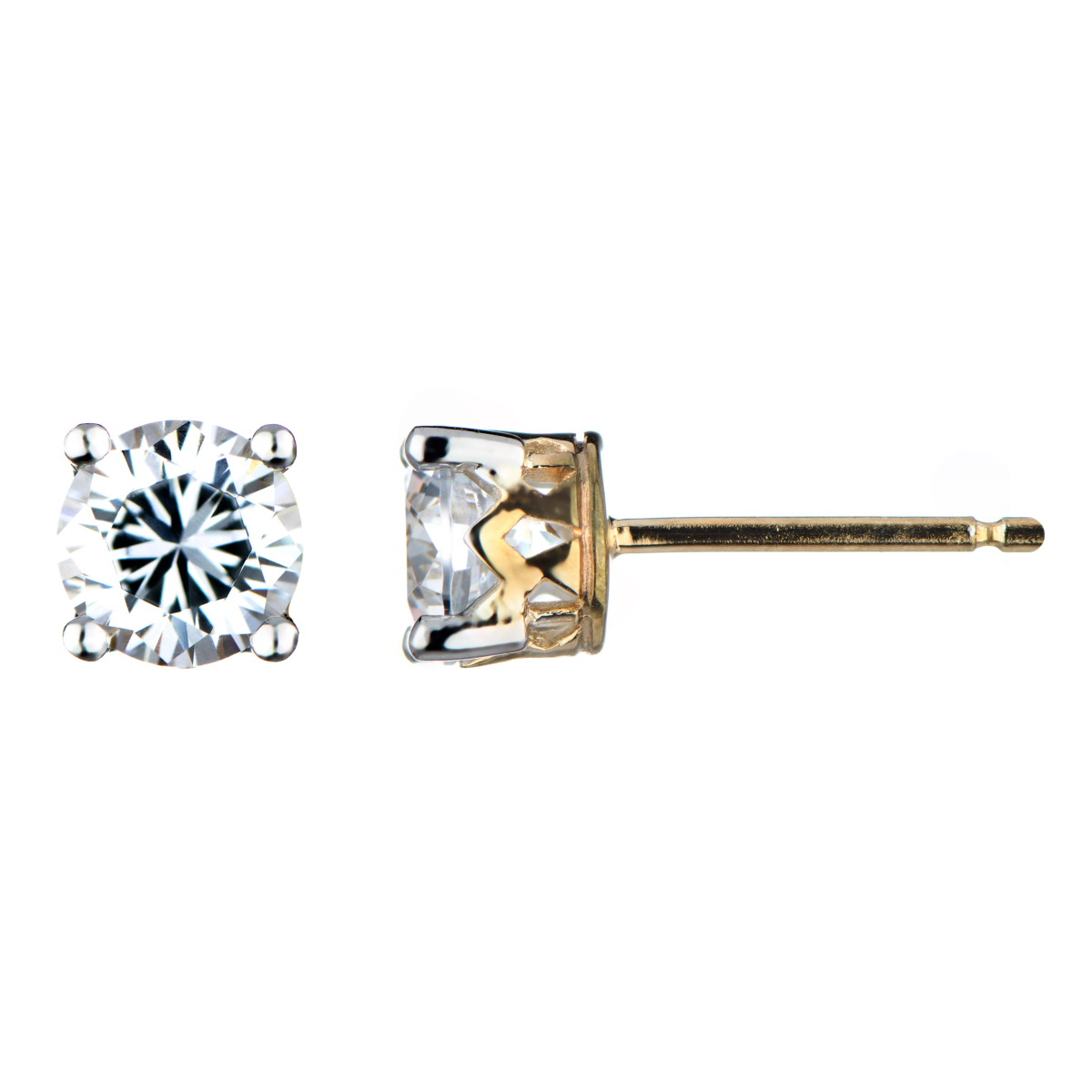 Nellie S Two Tone Fake Diamond Stud Earrings